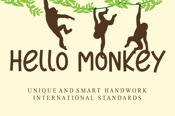 Print on Demand: Hello Monkey Display Fuente Por Roronoa zoro.S.P.D
