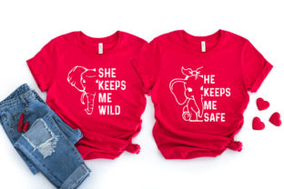 Print on Demand: Love Couple T-shirt Elephant SVG+EPS+PNG Graphic Print Templates By Ifter Nishat