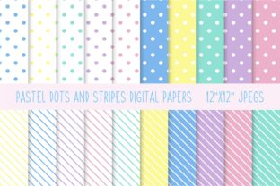 Pastel Dots and Stripes Digital Papers Graphic Patterns By AyselZamanli