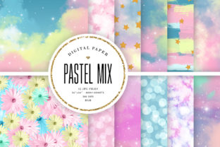 Print on Demand: Pastel Mix Backgrounds Graphic Backgrounds By Sabina Leja 1