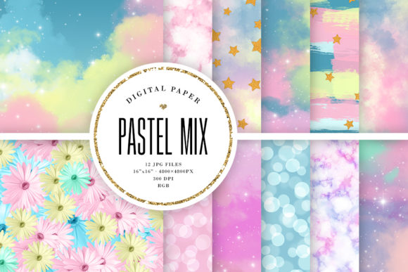 Print on Demand: Pastel Mix Backgrounds Graphic Backgrounds By Sabina Leja