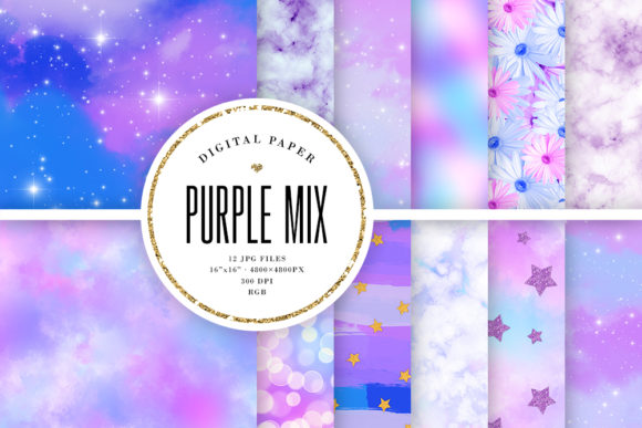 Print on Demand: Purple Backgrounds Mix Graphic Backgrounds By Sabina Leja