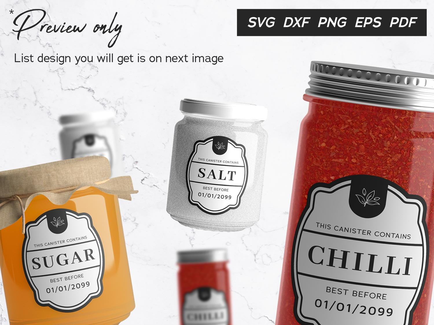 Spice Jar Pantry Container Labels 2 SVG File