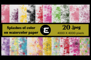 Print on Demand: Splashes of Colors on Watercolor Paper Graphic Backgrounds By grafikestelle