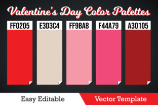 Print on Demand: Valentines Day Color Palettes Vector Graphic Illustrations By ohesdesign