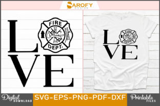 Print on Demand: Vector Firefighter Love Logo Design Svg Graphic Print Templates By Sarofydesign