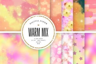 Print on Demand: Warm Colors Digital Paper Mix Graphic Backgrounds By Sabina Leja