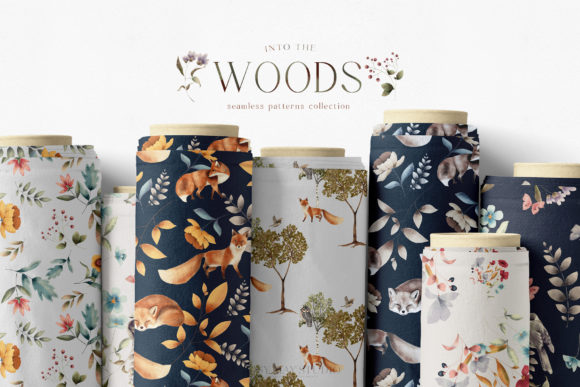 Print on Demand: Woodland Scene Seamless Patterns JPEG Graphic Patterns By Busy May Studio