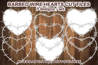 Print on Demand: Barbed Wire Heart SVG Clip Art Cut Files Graphic Illustrations By V-Design Creator