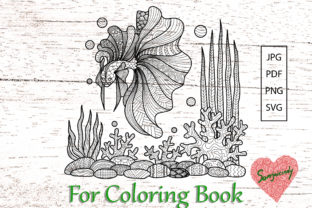 Betta Fish and Corals Coloring Page Graphic Coloring Pages & Books Adults By somjaicindy