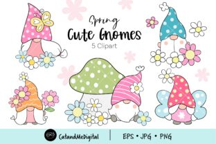 Cute Spring Gnomes Clipart. Graphic Illustrations By CatAndMe