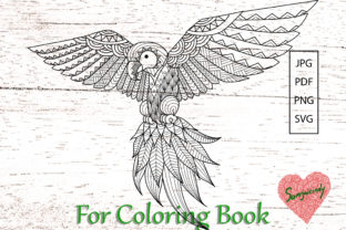 Flying Parrot for Coloring Book Graphic Coloring Pages & Books Adults By somjaicindy