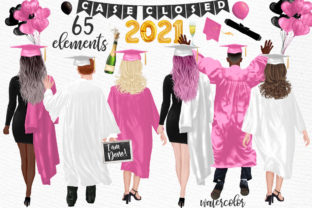 Print on Demand: Graduate Students Grad White Gowns Graphic Illustrations By LeCoqDesign