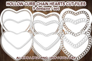 Print on Demand: Hollow Curb Chain Heart SVG Cut Files Graphic Illustrations By V-Design Creator
