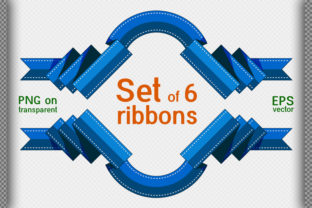 Set of 6 Decorative Ribbons. Flat 02 Graphic Illustrations By DesignsBer