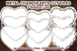 Print on Demand: Simple Metal Chain Heart SVG Cut Files Graphic Illustrations By V-Design Creator