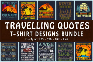 Print on Demand: Travelling / Camping / Hiking Quotes Grafik Druck-Templates von CraftStudio