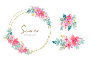 Print on Demand: Tropical Watercolor Flower Clipart, Pink Grafik Illustrationen von SunflowerLove