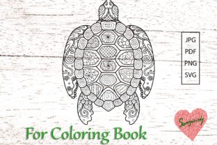 Turtle Coloring Book Graphic Coloring Pages & Books Adults By somjaicindy