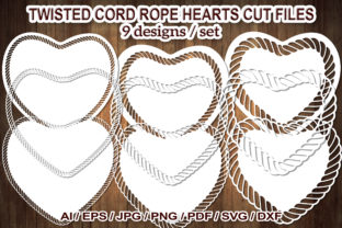 Print on Demand: Twisted Cord Rope Heart SVG Cut Flies Graphic Illustrations By V-Design Creator
