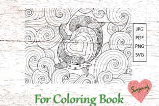 Two Dolphins Coloring Book Graphic Coloring Pages & Books Adults By somjaicindy