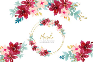 Print on Demand: Watercolor Marsala Flowers Clipart Graphic Illustrations By SunflowerLove