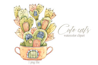 Print on Demand: Watercolor Cute Cats Illustration Graphic Illustrations By Tiana Geo