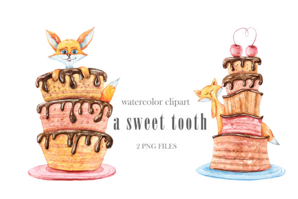Print on Demand: Watercolor Cute Fox with Cake Clipart Graphic Illustrations By Tiana Geo