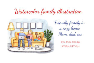 Watercolor Family Clipart. Cozy Home Graphic Illustrations By Alenamilolika