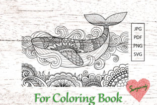 Whale Swimming Coloring Book Graphic Coloring Pages & Books Adults By somjaicindy