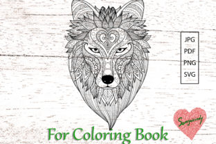 Wolf Coloring Page Graphic Coloring Pages & Books Adults By somjaicindy