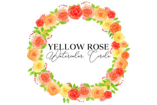 Yellow Rose Watercolor Circle Graphic Web Elements By Monogram Lovers