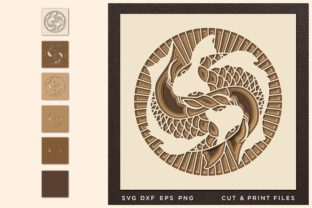 YingYang, Cut File Multilayer SVG Graphic 3D SVG By 2dooart