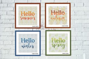 Print on Demand: 4 Seasons Lettering Cross Stitch Set Graphic Cross Stitch Patterns By Tango Stitch