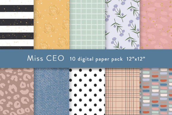 Digital Paper Pattern Planner Girl Graphic Patterns By SincerelyNix