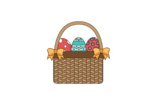 Easter Basket Yellow Ribbon Fill Line Graphic Icons By raysaozora