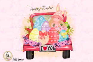 Print on Demand: Happy Easter Egg Truck Sublimation Graphic Illustrations By Suda Digital Art