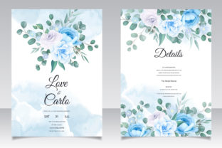 Modern Wedding Card with Blue Flower Graphic Print Templates By dinomikael01