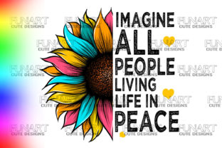PEACE , LOVE , SUNFLOWER , PNG File Graphic Illustrations By Fundesings