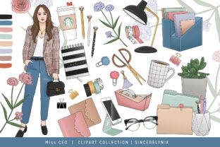 Planner Girl Fashion Clipart Sticker Set Grafik Illustrationen von SincerelyNix
