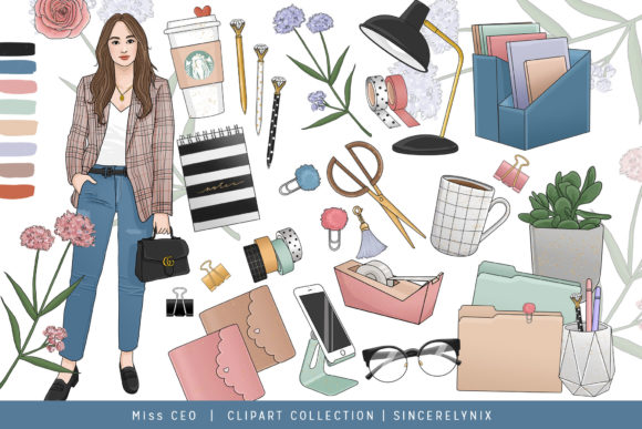 Planner Girl Fashion Clipart Sticker Set Graphic Illustrations By SincerelyNix