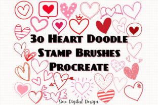 Print on Demand: Procreate Stamps Brushes Heart Doodle Graphic Brushes By SineDigitalDesign
