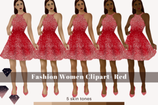 Red Fashion Girl Clipart, Woman Clipart Graphic Illustrations By SagaDesignStudio