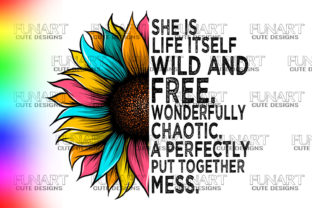 SHE is WILD and FREE ,PNG  , SUNFLOWER Graphic Illustrations By Fundesings