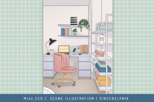 Scene Illustration Office Planner Girl Graphic Backgrounds By SincerelyNix