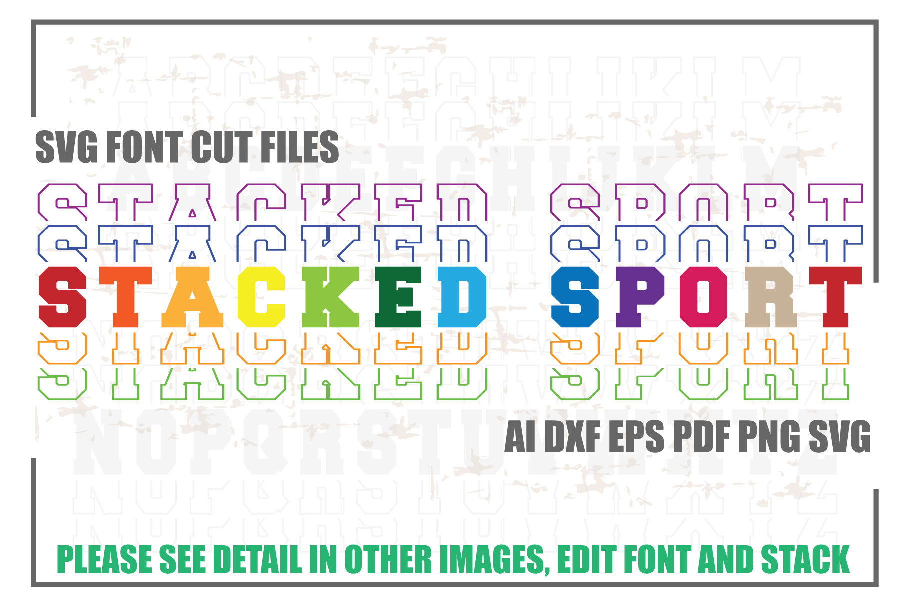 Stacked Sports SVG Font Cut Files SVG File