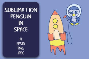 Sublimation T-shirt Penguin in Space PNG Graphic Illustrations By Irisidia