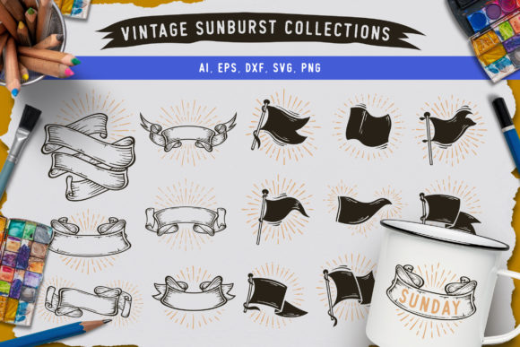 Sunbursts Flags Collection Graphic Crafts By AllmoStudio