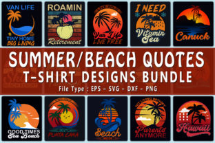 Print on Demand: Top 20 Beach / Summer Quotes T-shirt Designs Bundle Graphic Print Templates By CraftStudio