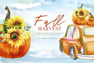 Watercolor Fall Harvest Design Set Graphic Illustrations By artcreationsdesign 1